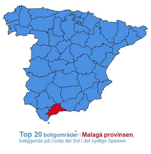 Top 20 feriebolig områder i Malaga på Costa del Sol
